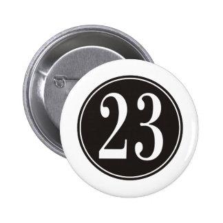 Number 23 - Black Circle (front) 6 Cm Round Badge