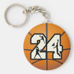 Number 24 Basketball Key Chain