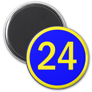 number 24 in a circle 6 cm round magnet