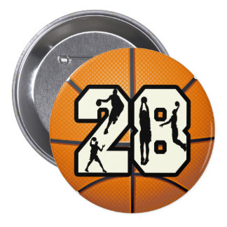 Number 28 Basketball 7.5 Cm Round Badge