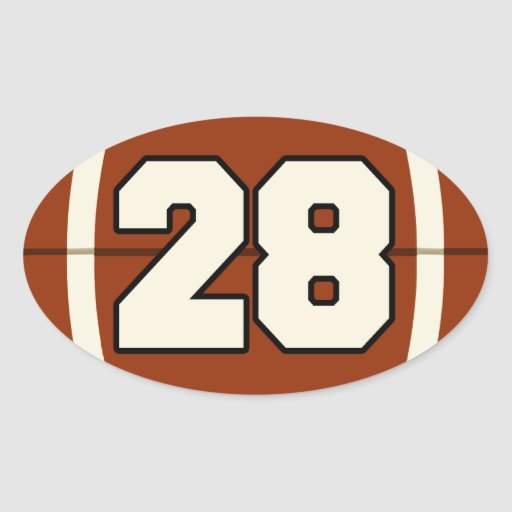 Number 28 Football Sticker | Zazzle