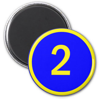 number 2 in a circle 6 cm round magnet