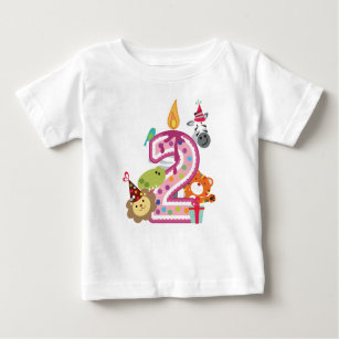 Number 2 Second Birthday T Shirt For Kids In Pink