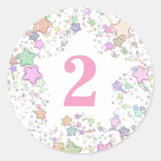 Number 2 TWO Girls 2nd Birthday Pastel Stars Classic Round Sticker