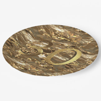 Number 30 30th Birthday Wedding Anniversary Gold 9 Inch Paper Plate