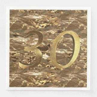 Number 30 30th Birthday Wedding Anniversary Gold Disposable Serviettes