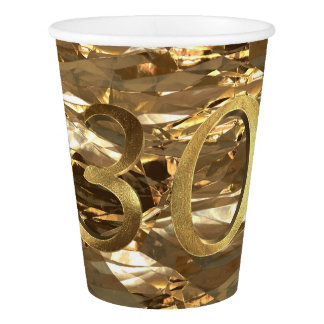 Number 30 30th Birthday Wedding Anniversary Gold Paper Cup
