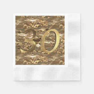 Number 30 30th Birthday Wedding Anniversary Gold Paper Serviettes