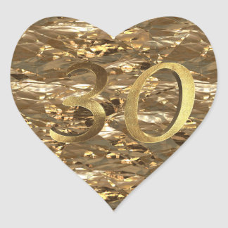Number 30 30th Wedding Anniversary Elegant Gold Heart Sticker