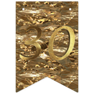 Number 30 Wedding 30th Birthday Anniversary Gold Bunting