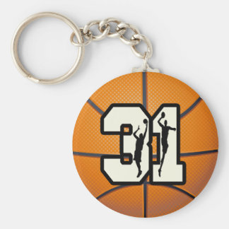 Number 31 Basketball Basic Round Button Key Ring