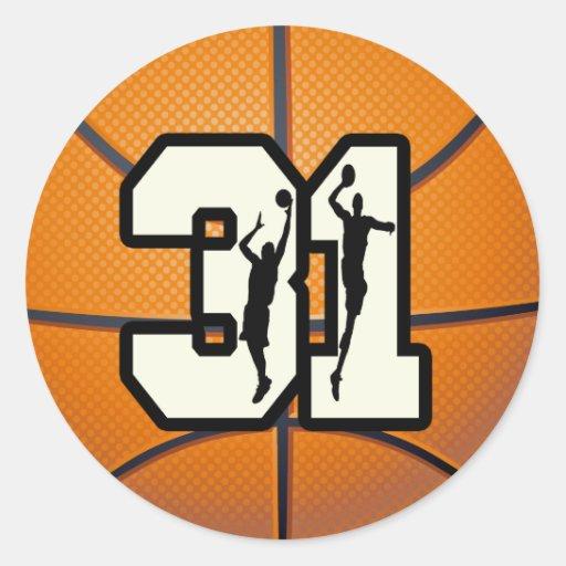 Number 31 Basketball Round Sticker | Zazzle