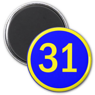 number 31 in a circle magnet