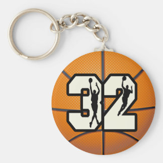 Number 32 Basketball Basic Round Button Key Ring