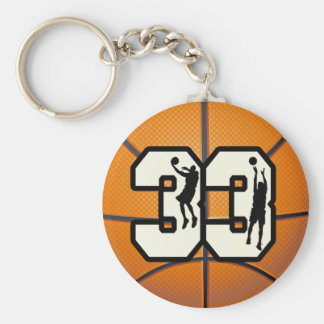 Number 33 Basketball Basic Round Button Key Ring