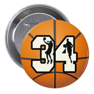 Number 34 Basketball 7.5 Cm Round Badge