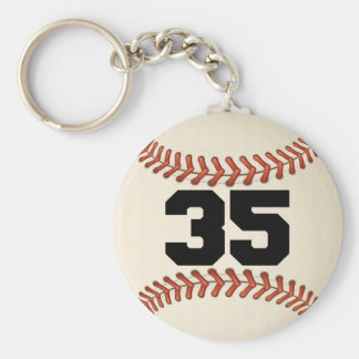 Number 35 Baseball Basic Round Button Key Ring