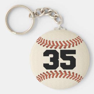Number 35 Baseball Key Ring