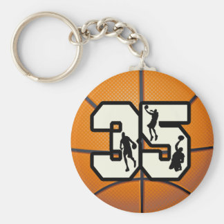 Number 35 Basketball Basic Round Button Key Ring