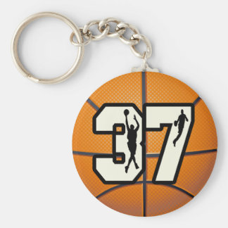 Number 37 Basketball Basic Round Button Key Ring