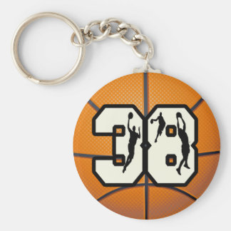 Number 38 Basketball Basic Round Button Key Ring