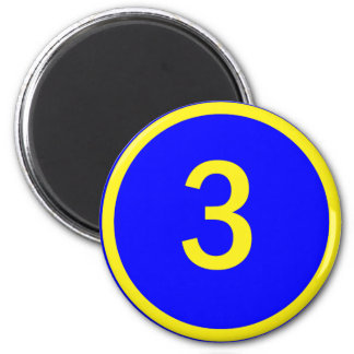 number 3 in a circle 6 cm round magnet