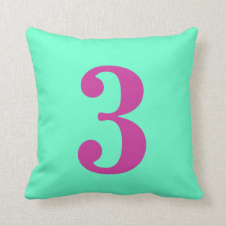 Number 3 throw pillow cushion