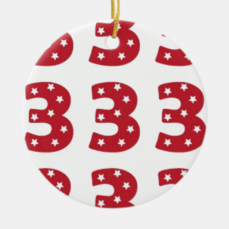Number 3 - White Stars on Dark Red Ceramic Ornament
