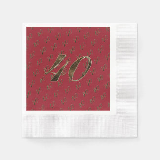 Number 40 40th Anniversary Ruby Gold Typography Disposable Napkins