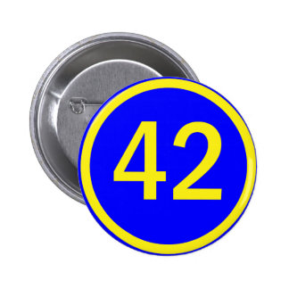 number, 42, in a circle 6 cm round badge