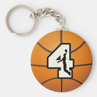 Number 4 Basketball and Player Basic Round Button Key Ring