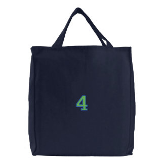 Number 4 embroidered tote bags