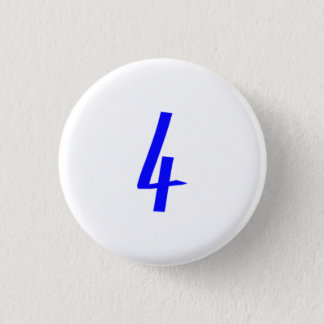 Number 4 four blue color 3 cm round badge