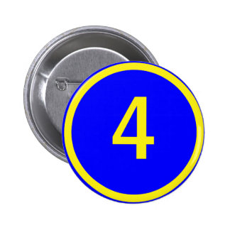 number 4 in a circle 6 cm round badge