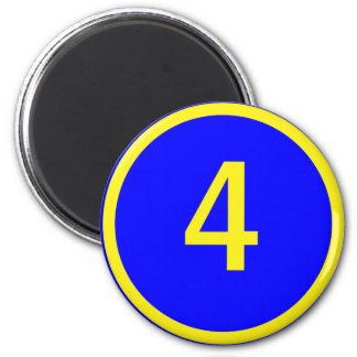 number 4 in a circle 6 cm round magnet