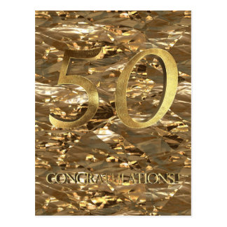 Number 50 50th Anniversary Gold Typography Postcard