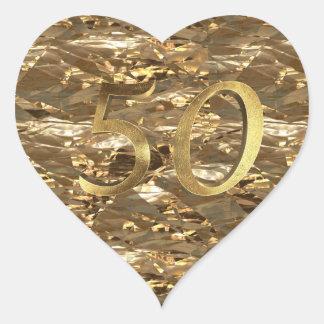 Number 50 Golden Wedding Anniversary Elegant Gold Heart Sticker
