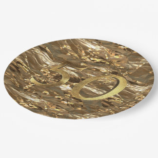 Number 50 Wedding 50th Birthday Anniversary Gold 9 Inch Paper Plate