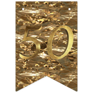 Number 50 Wedding 50th Birthday Anniversary Gold Bunting