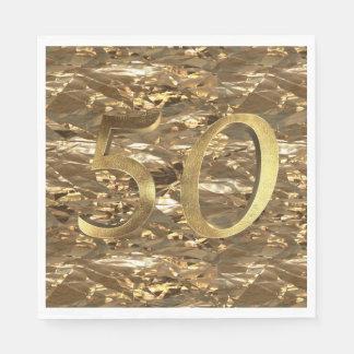 Number 50 Wedding 50th Birthday Anniversary Gold Paper Napkins