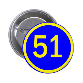 number, 51, in a circle 6 cm round badge