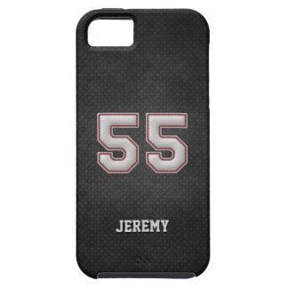Number 55 Baseball Stitches with Black Metal Look iPhone 5 Cover