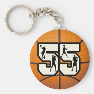 Number 55 Basketball Key Ring