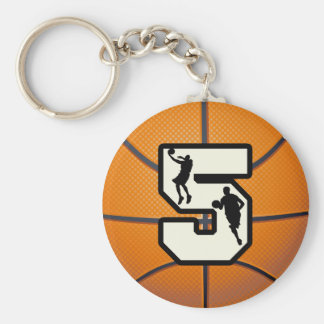 Number 5 Basketball and Player Basic Round Button Key Ring