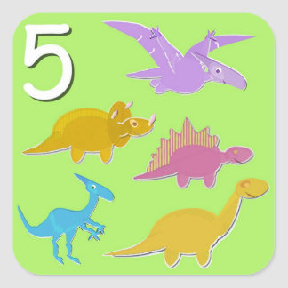 Number 5 Five Dinosaurs Counting Square Sticker