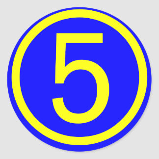 number 5 in a circle, blue background round sticker