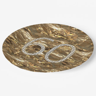 Number 60 Diamond Wedding 60th Anniversary Gold 9 Inch Paper Plate