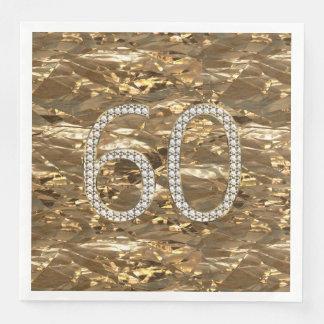 Number 60 Diamond Wedding Anniversary Gold Chic Disposable Napkin