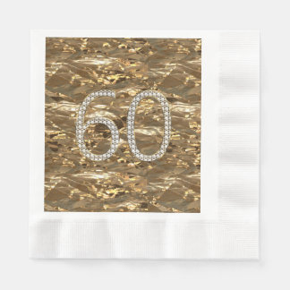 Number 60 Diamond Wedding Anniversary Gold Chic Disposable Serviettes