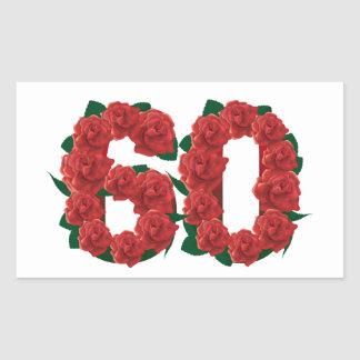 Number 60 floral rectangular sticker